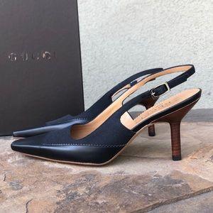 NEW Gucci vintage black slingback heels